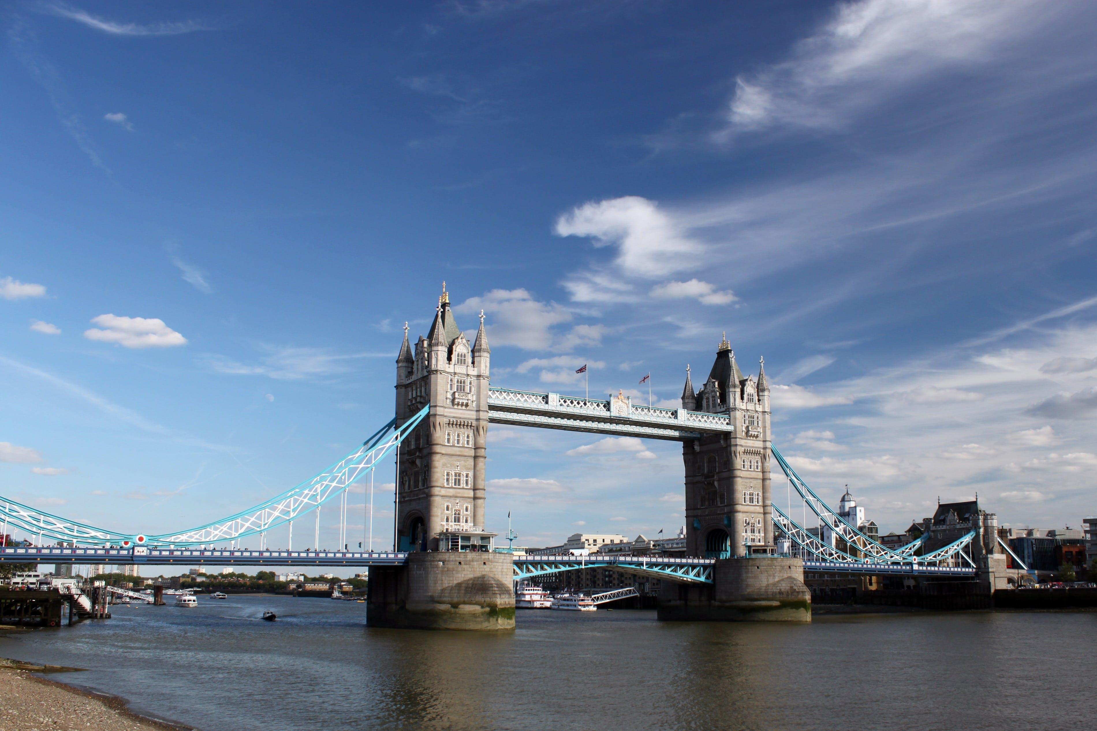 Twin Bridge Under Clear Sky