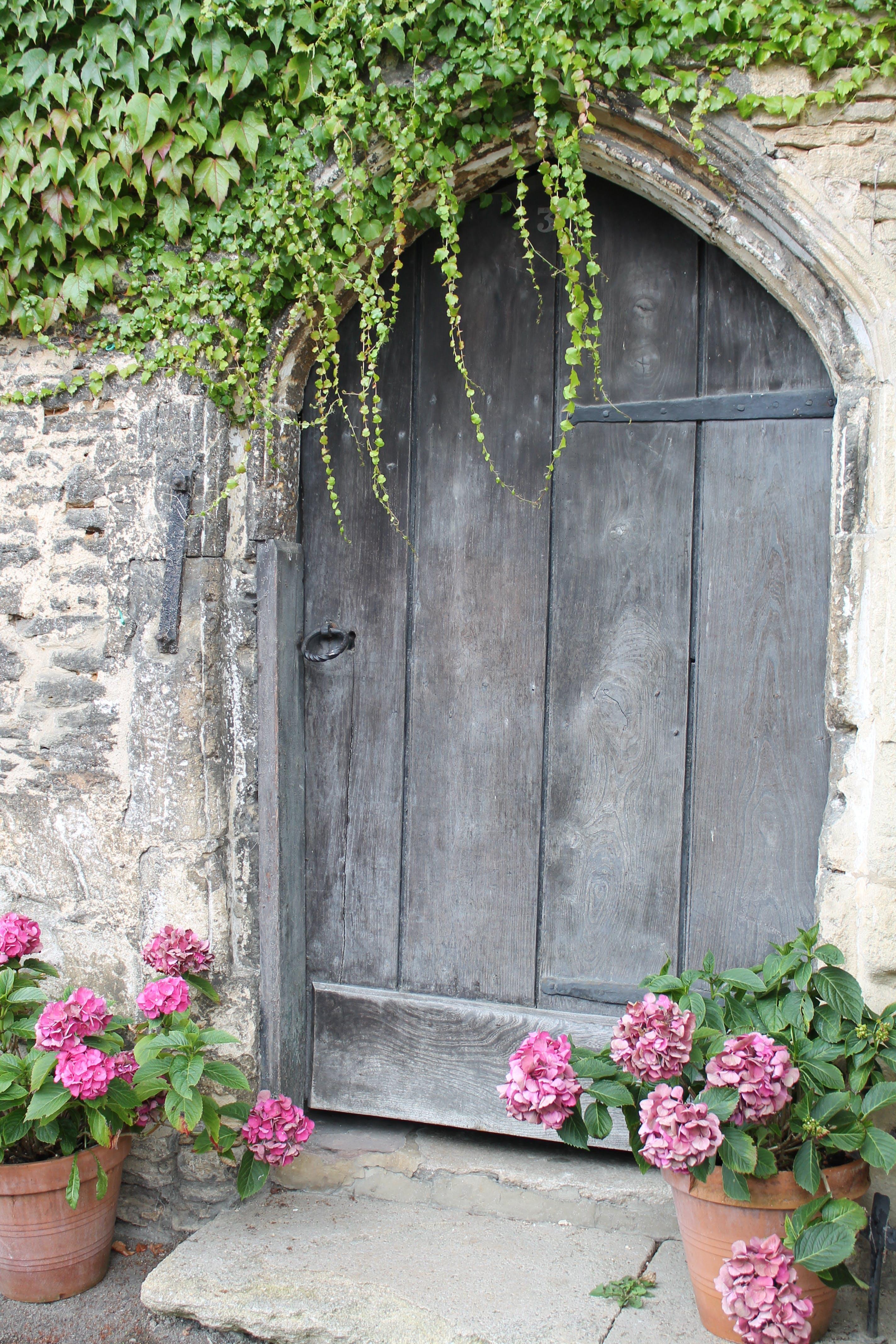 Closed Brown Wooden Garden Door