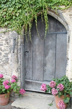 Closed Brown Wooden Garden Door