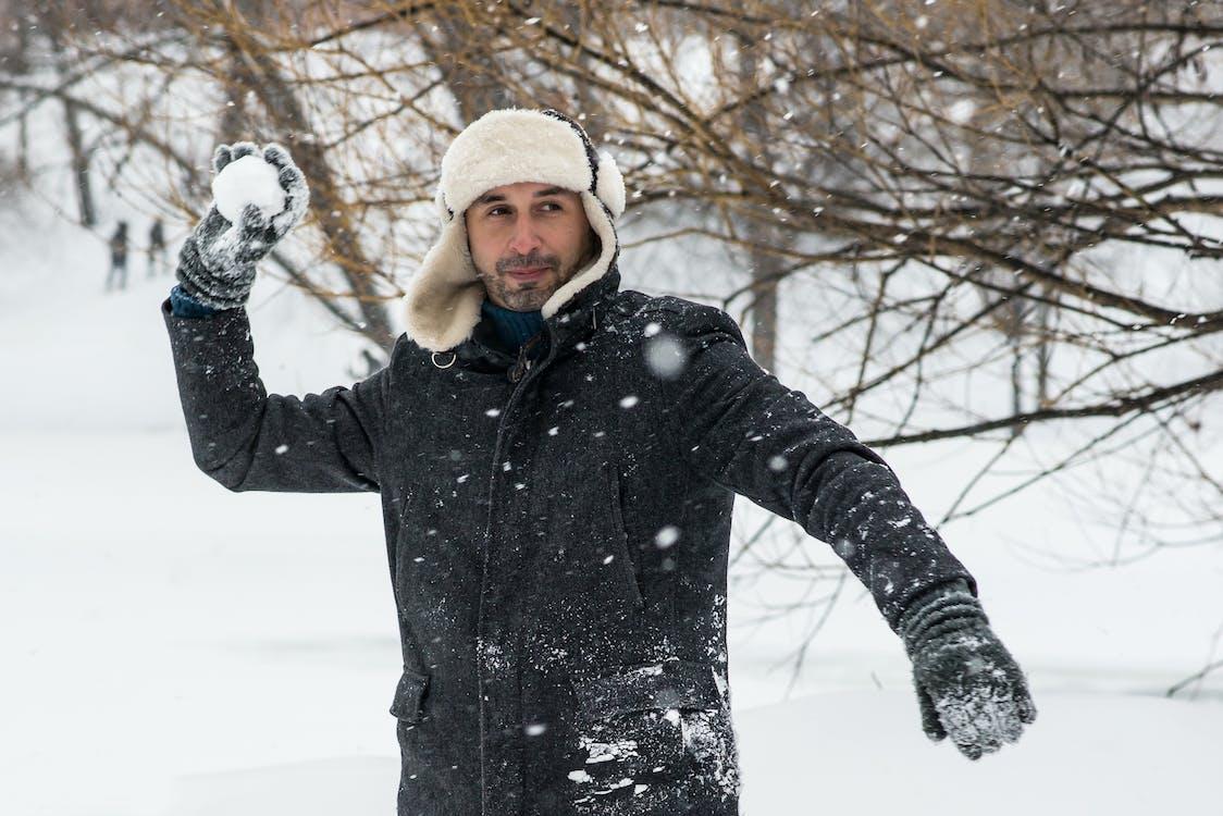 abrigo, agasalhos, bola de neve