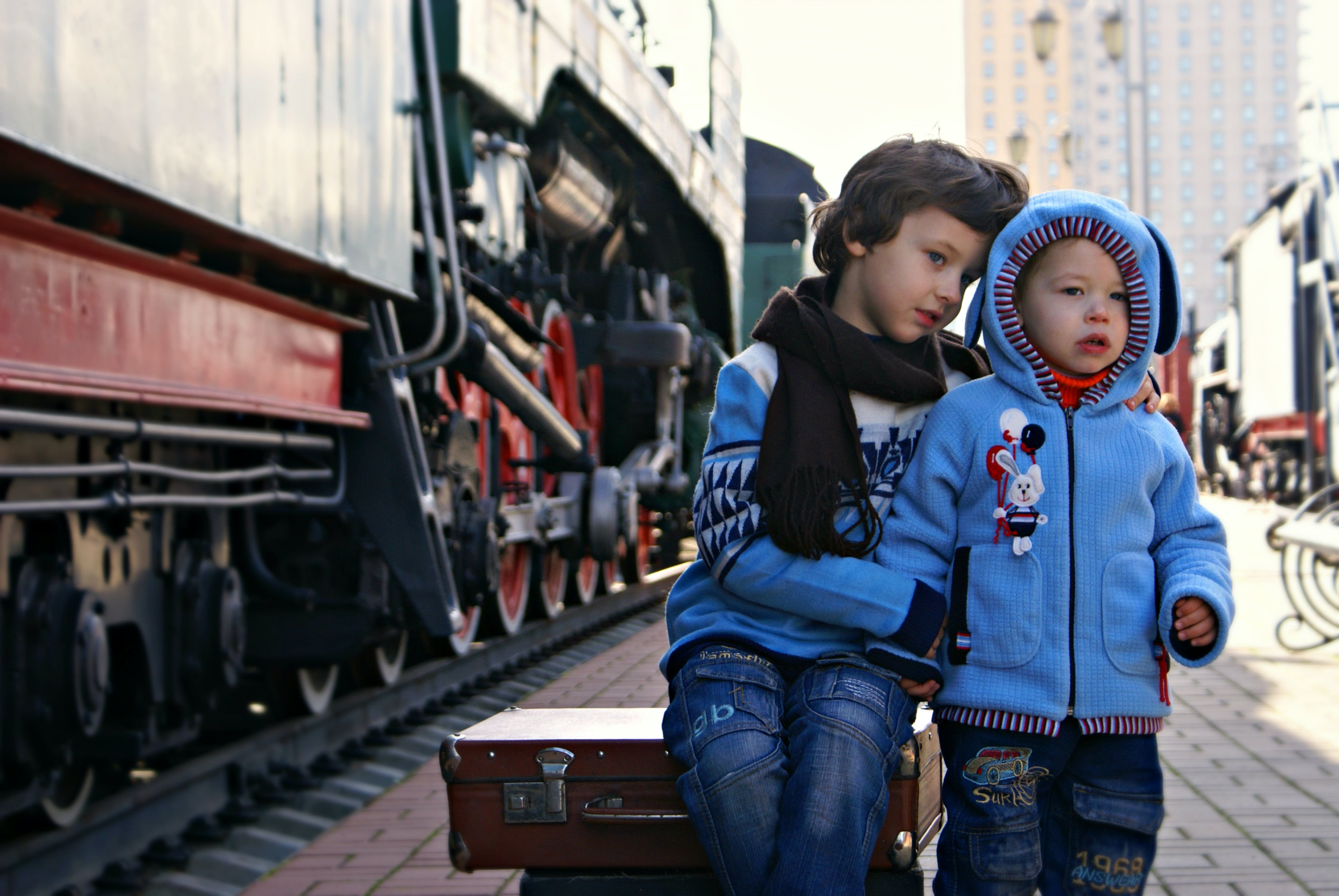Two Boy Beside Train