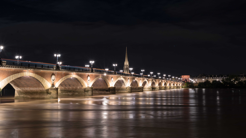 Free stock photo of bordeaux, bridge, midnight, night