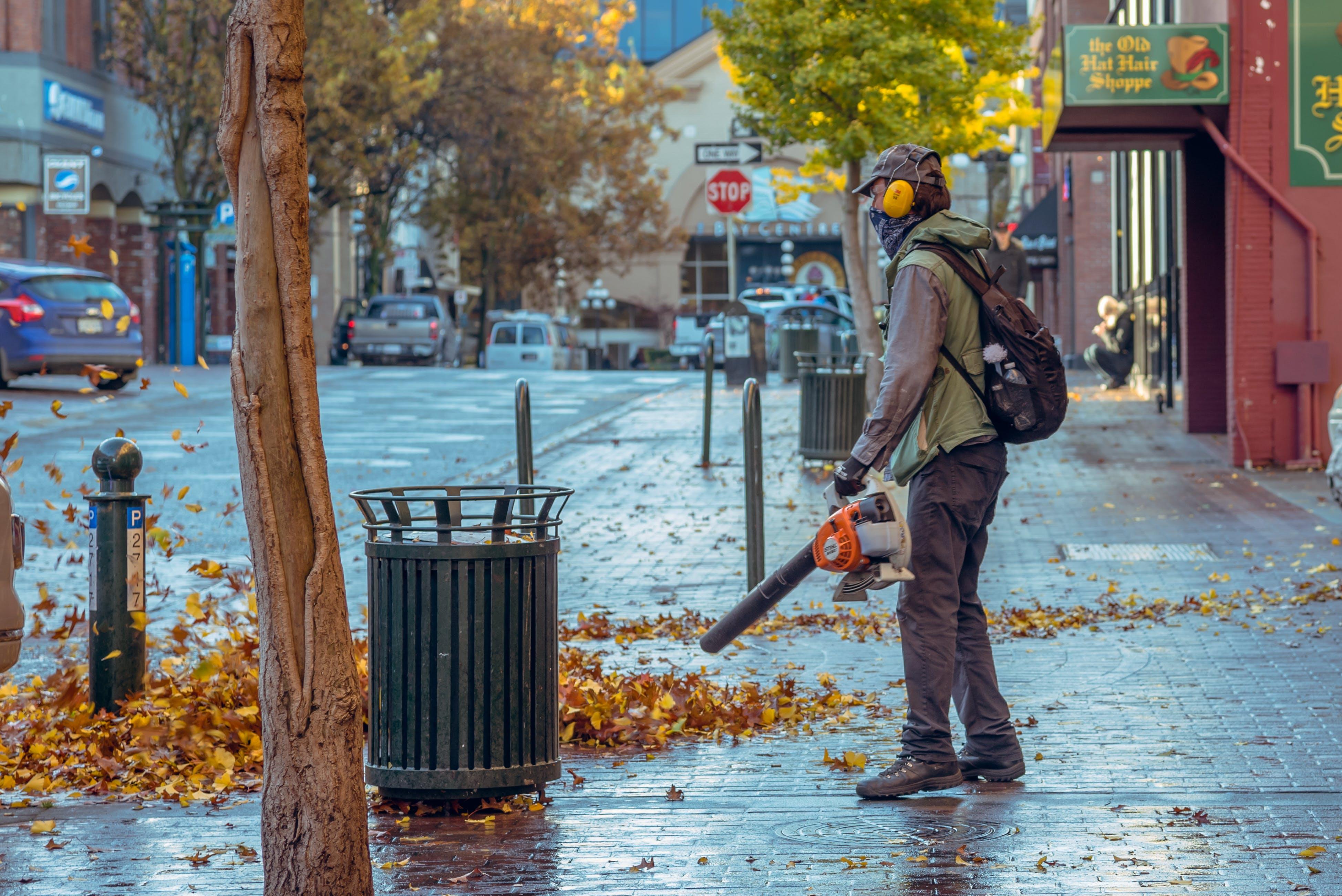 Man Holding Leaf Blower