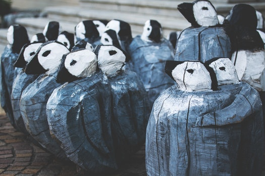 Gray and White Penguin Decoration