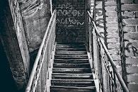 stairs, black-and-white, graffiti