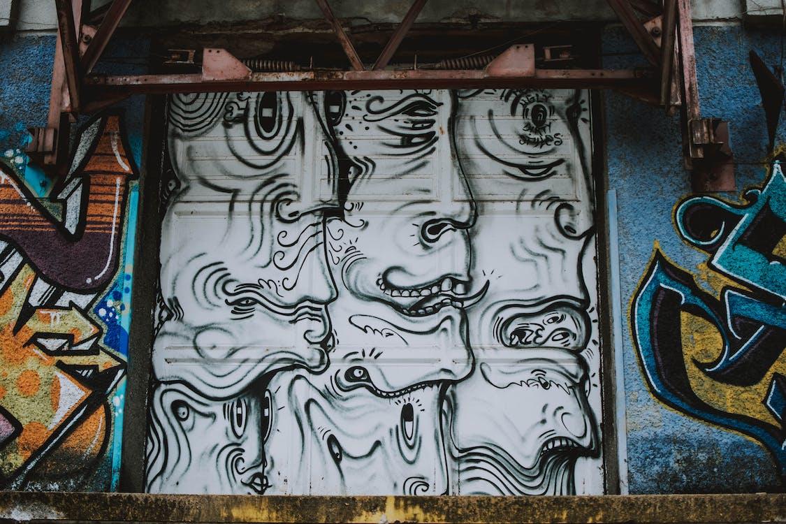 城市, 塗鴉, 插圖