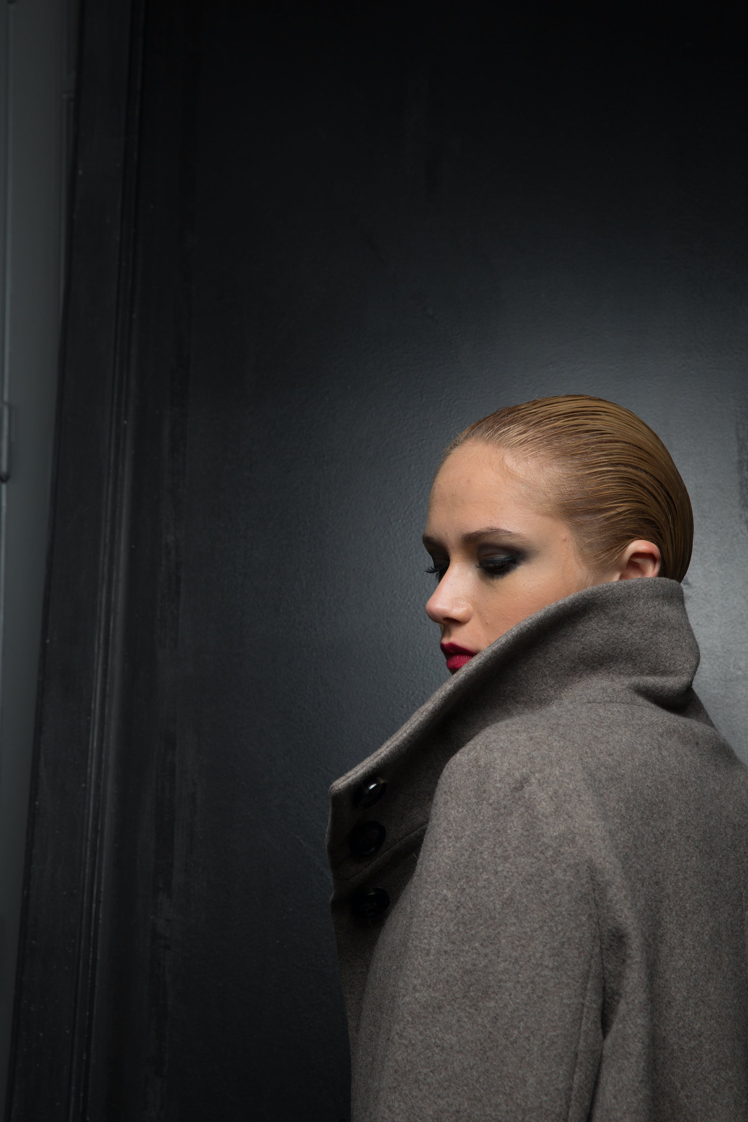 Woman in Gray Coat
