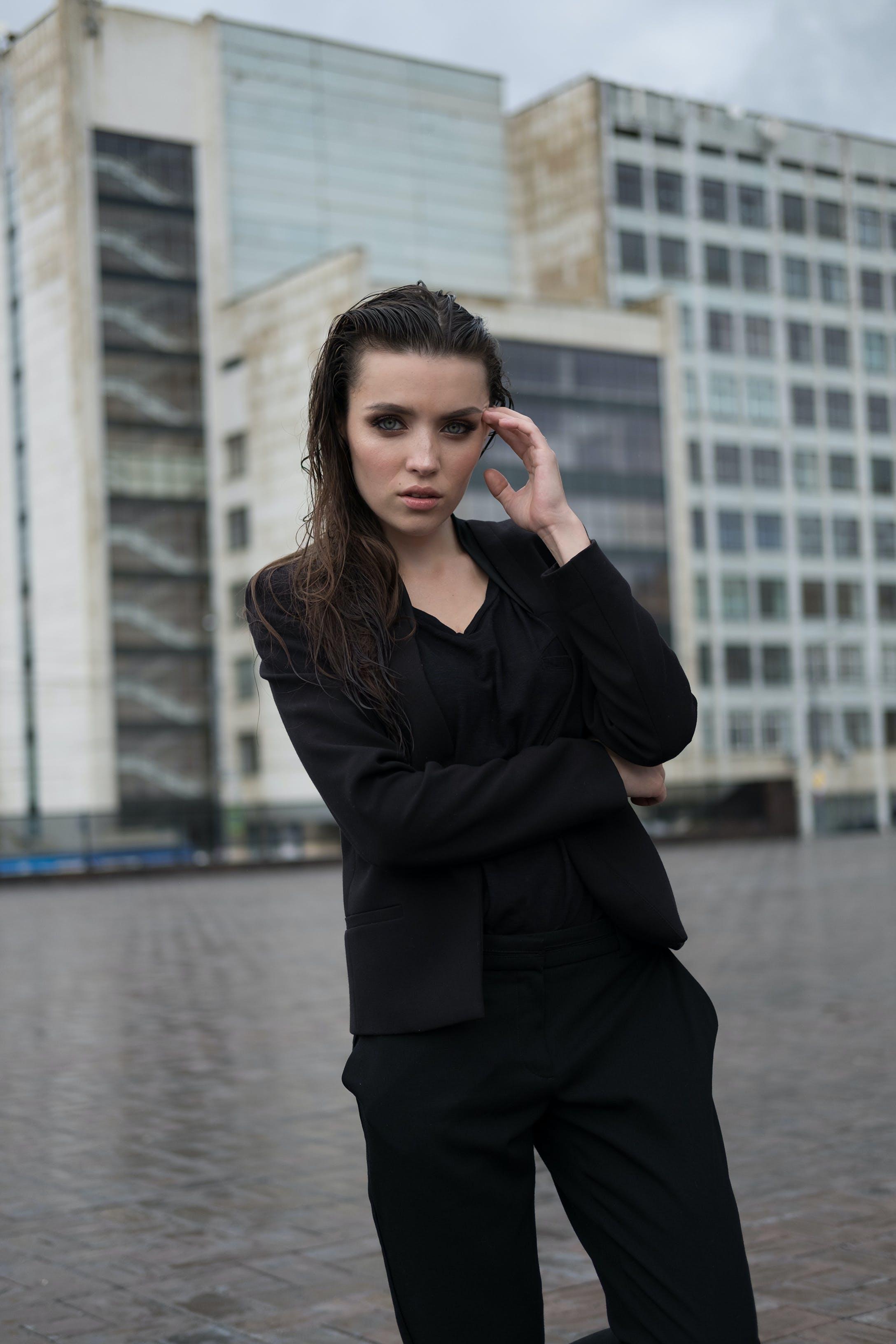 Woman Wearing Black Clothing
