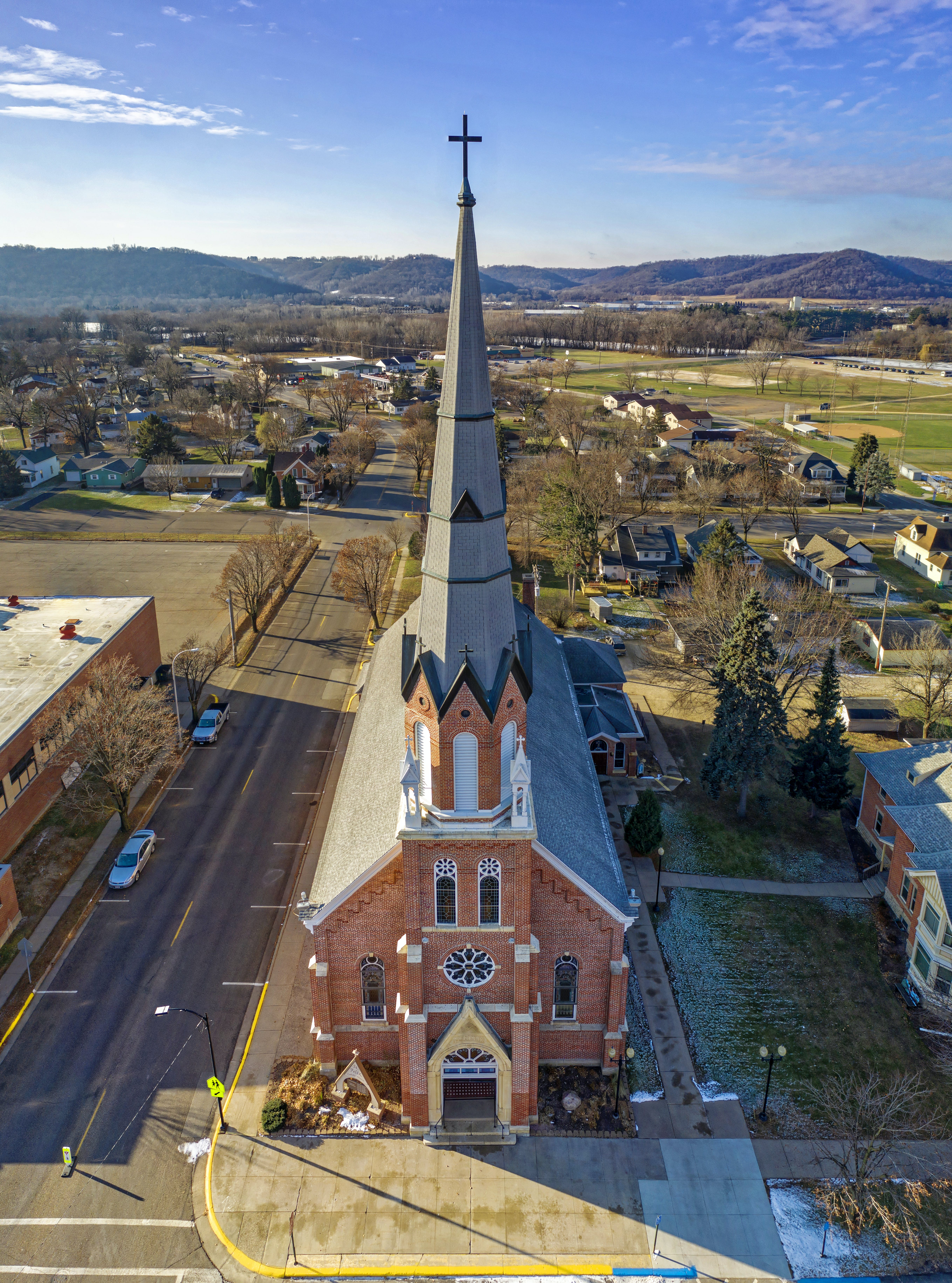 Aerial View of Brown and Gray Concrete Church