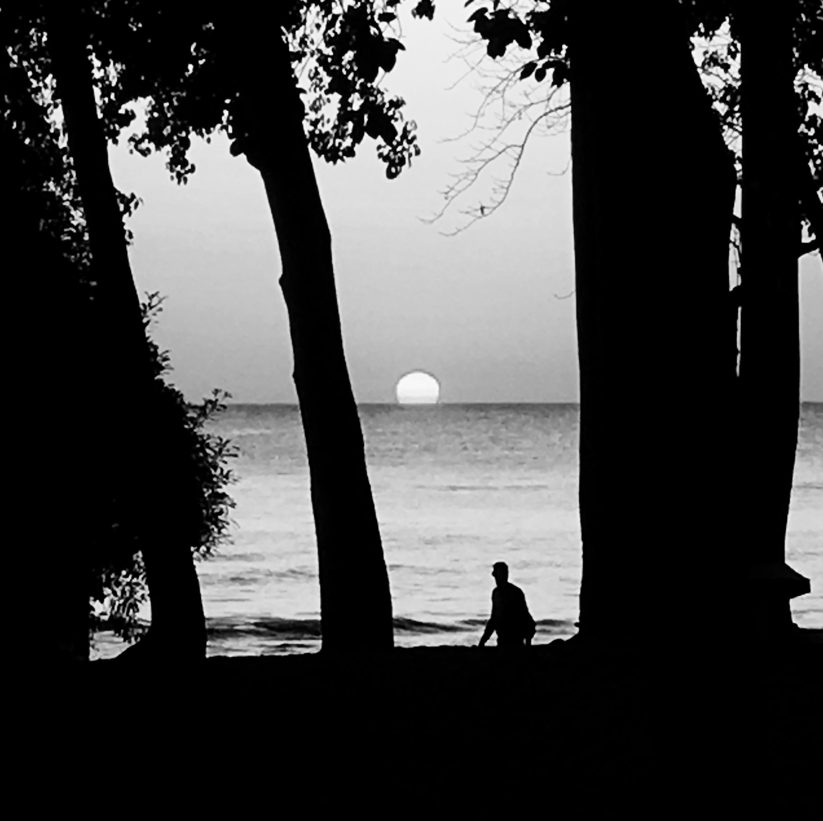 beach, black-and-white, lake