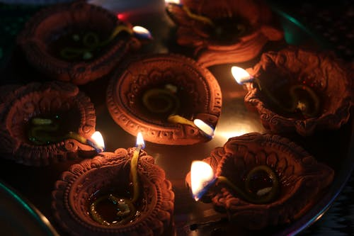 Free stock photo of clay lights, cotton buds, Deepak, Diwali