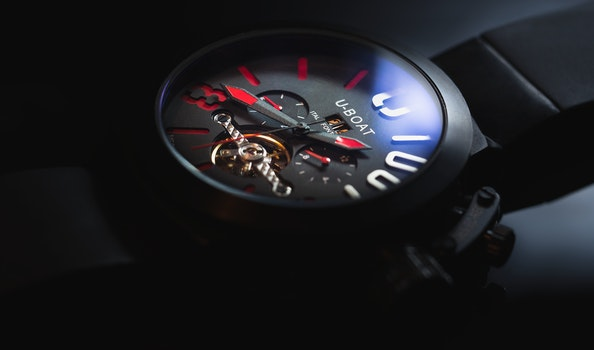 Black Strap U-boat Chronograph Watch