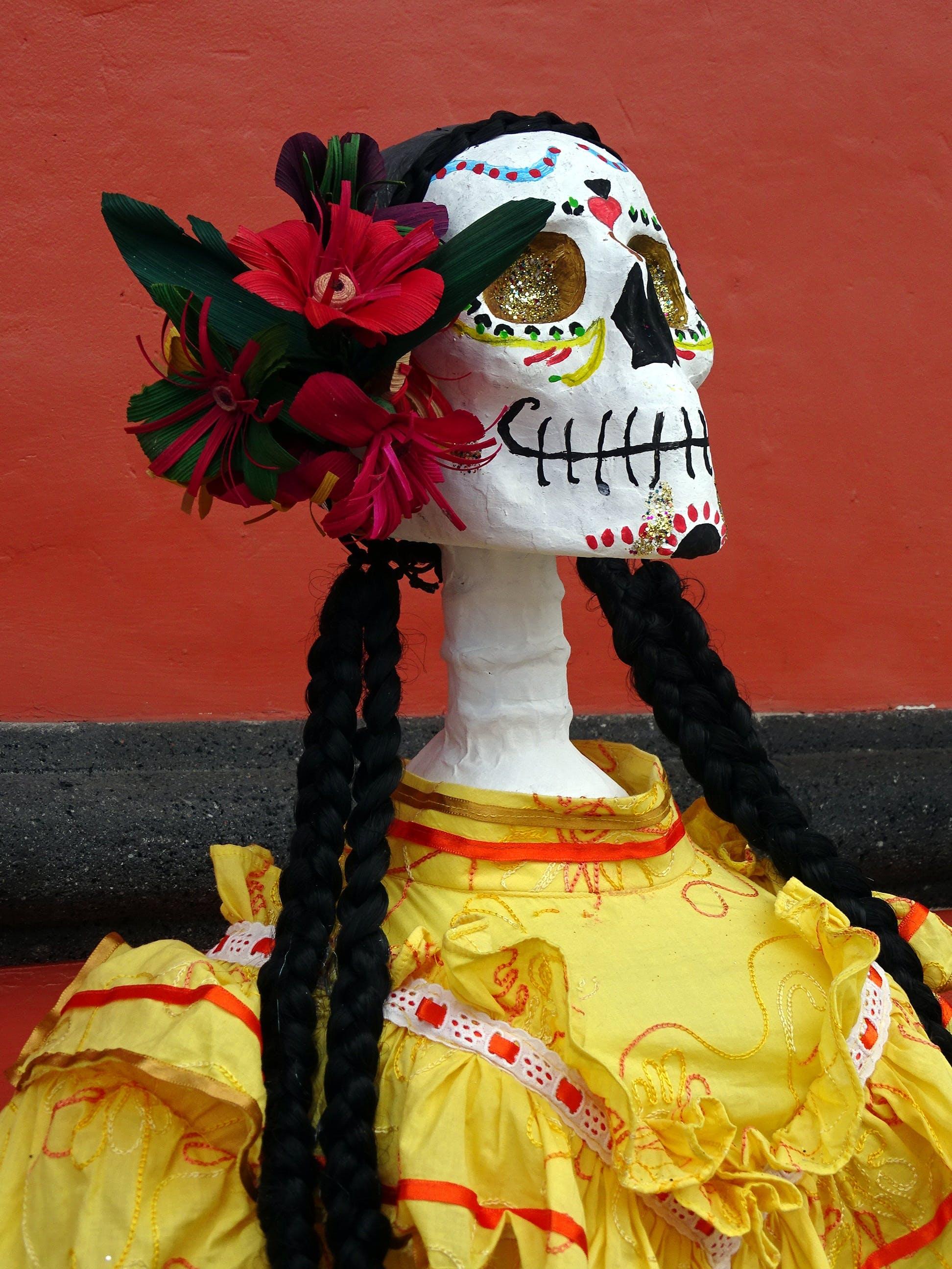 La Katrina Figurine With Yellow Dress