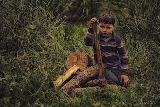 Boy in Purple Stripe Print Long Sleeve Shirt Holding Wooden Rod on Green Grass Field