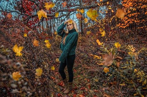 Woman Standing Near Yellow Trees
