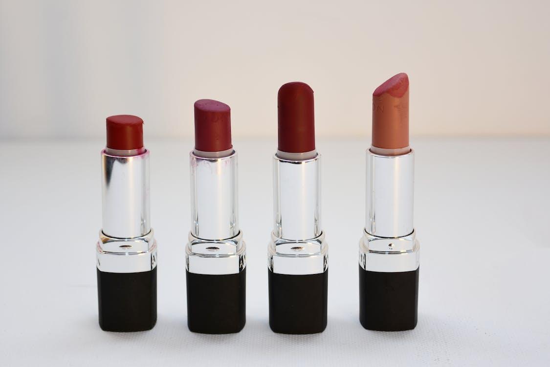 Four Aligned Assorted-color Lipsticks