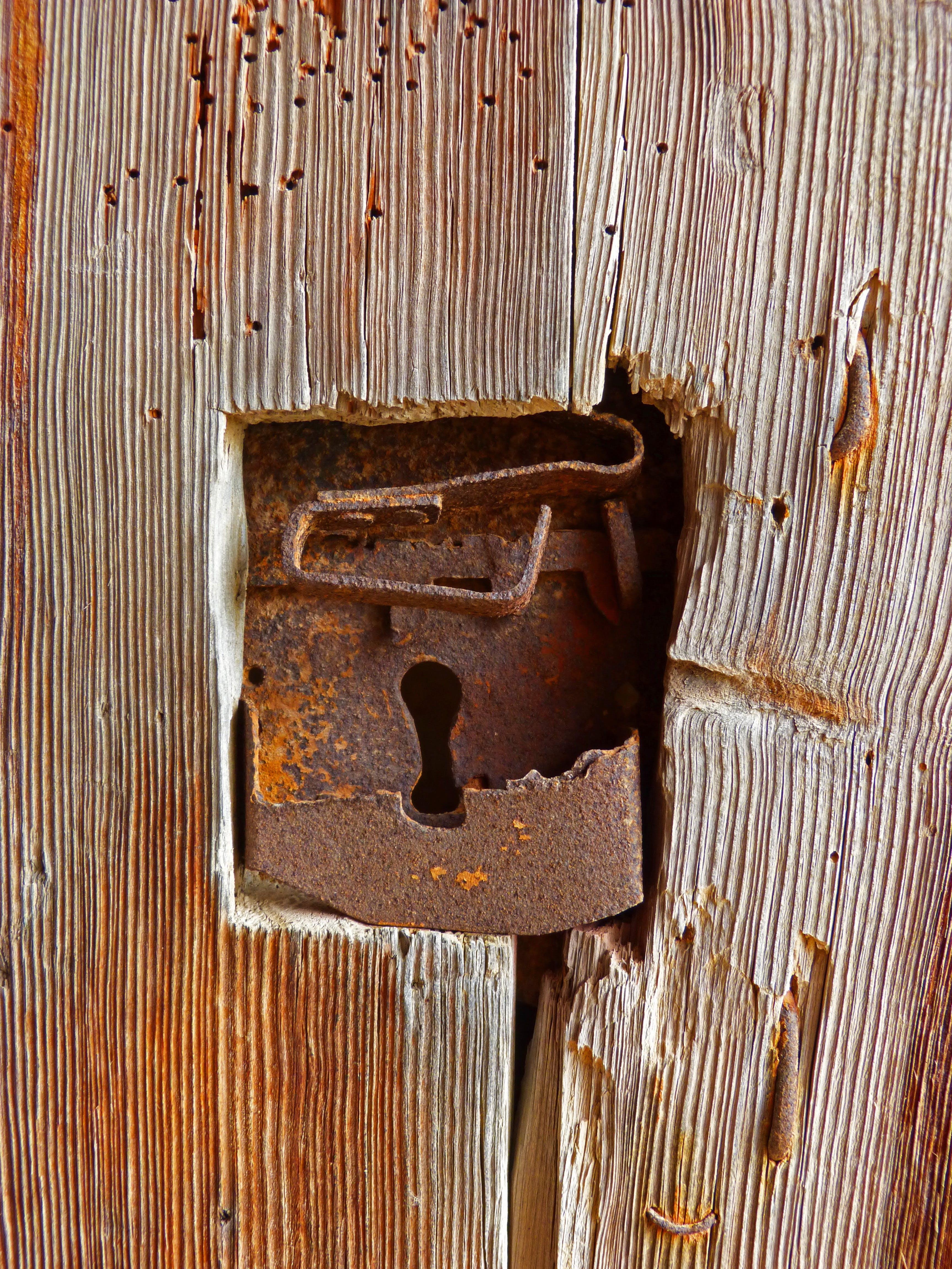 Brass Metal on Brown Wood