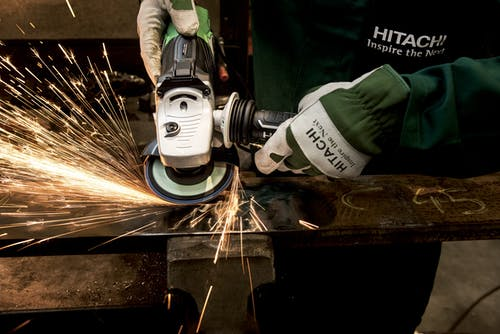 Hitachi White Black Angle Grinder