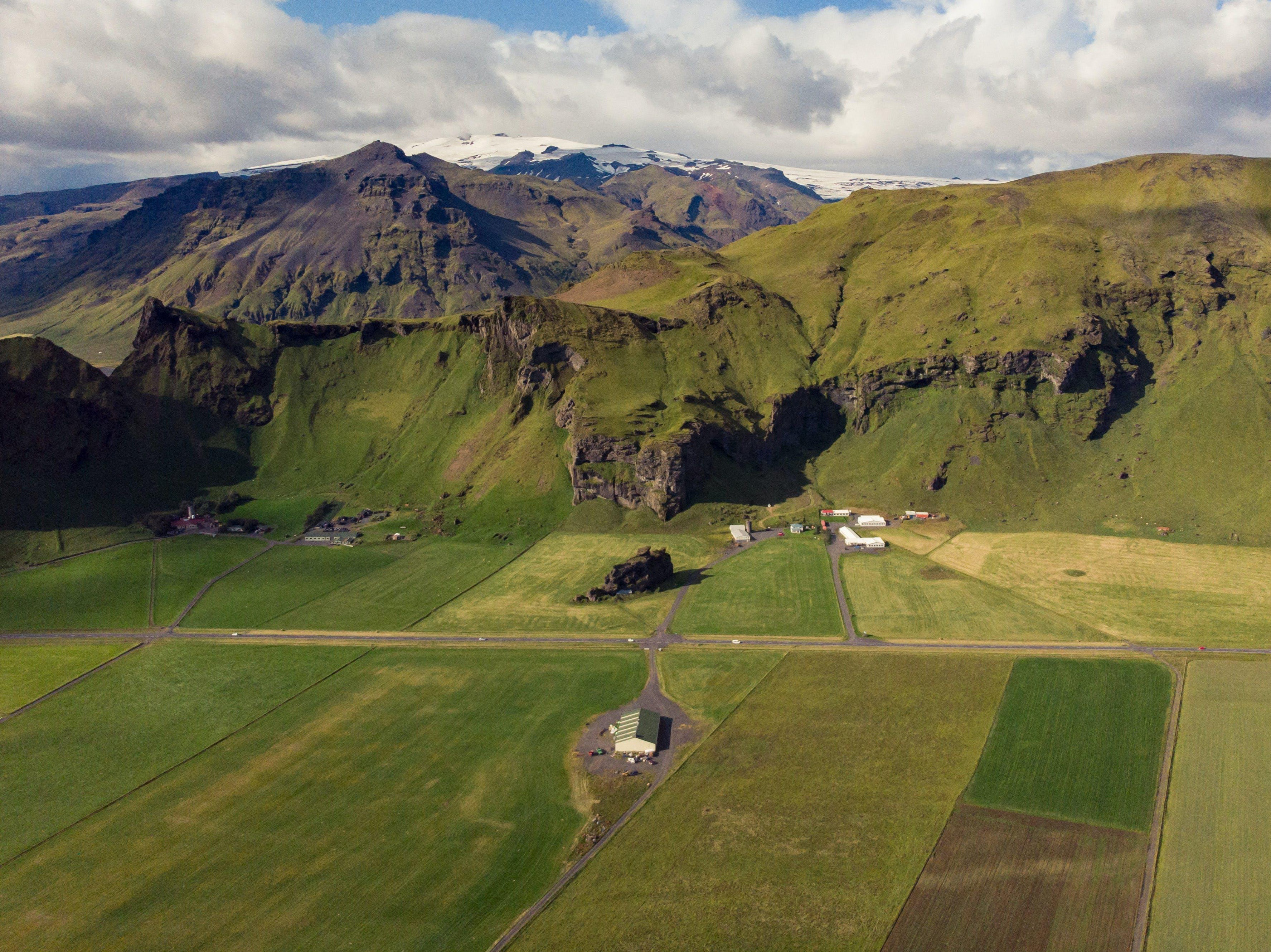 Free stock photo of eyjafjallajokull, farm, fields, iceland