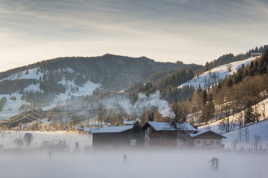 invierno, los alpes, montañas