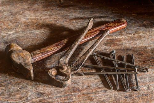 Foto d'estoc gratuïta de claus, eines, fusta, martell