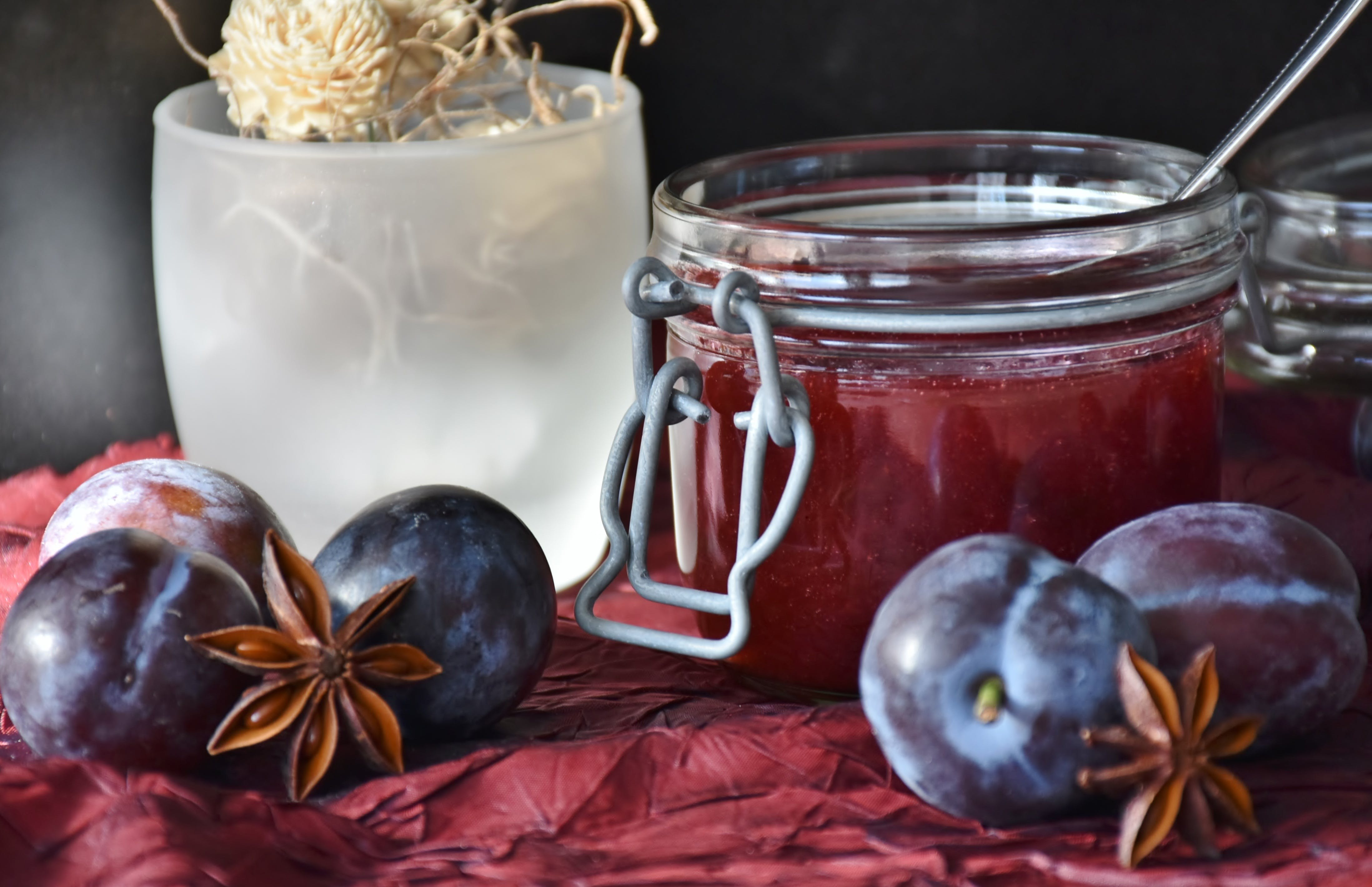 Round Fruit Near Mason Glass Jar