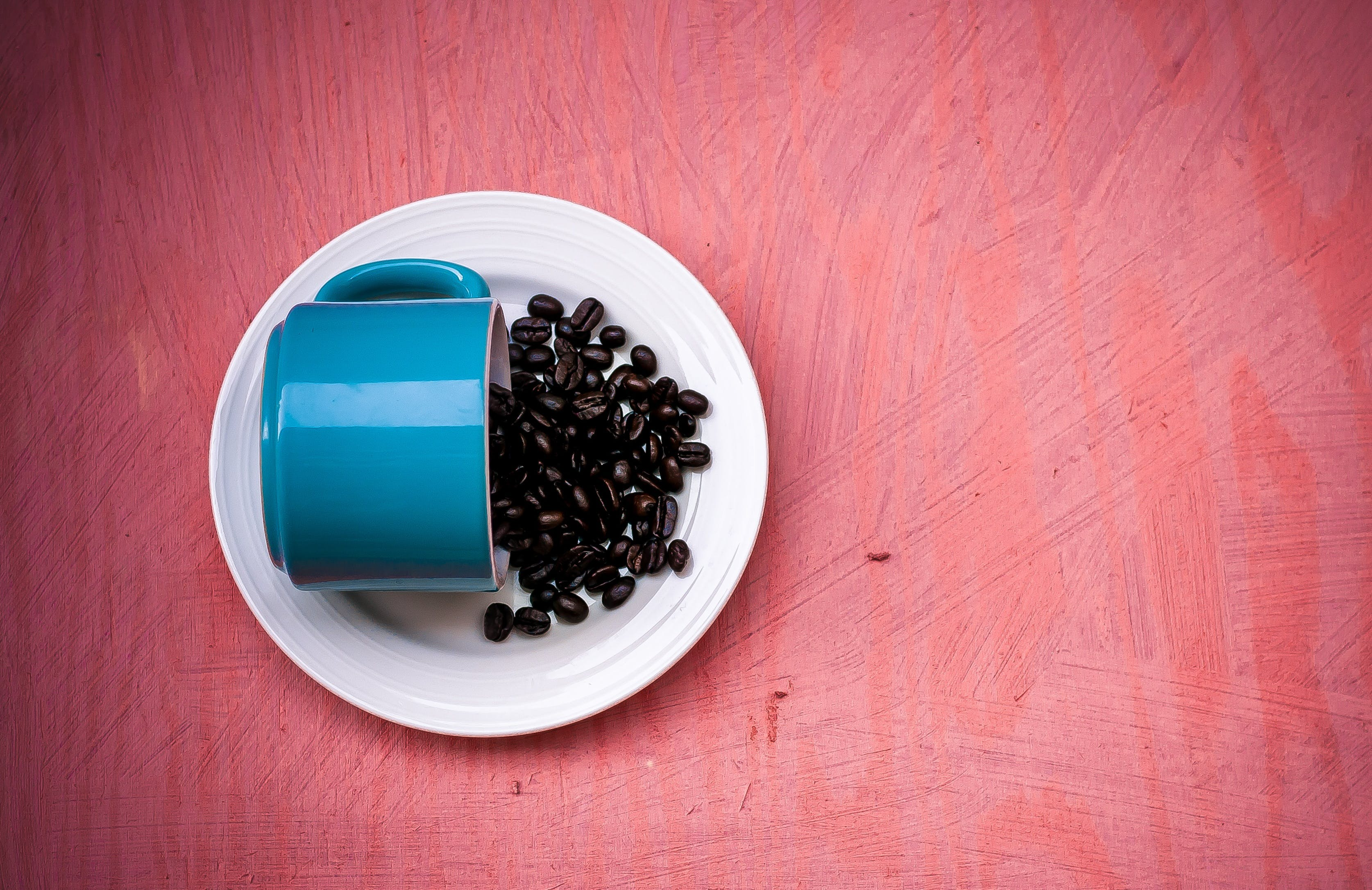Blue Ceramic Tea Cup With Beans on Plate