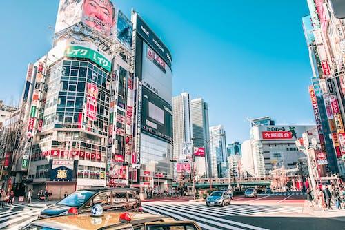 Foto profissional grátis de arquitetura, arranha-céus, automóveis, centro da cidade