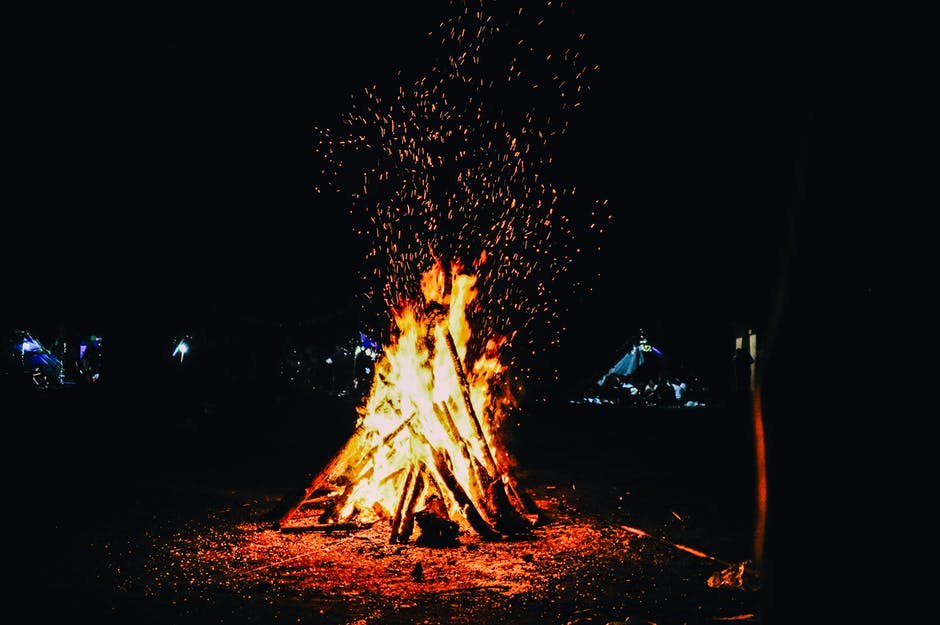 Bonfire during evening