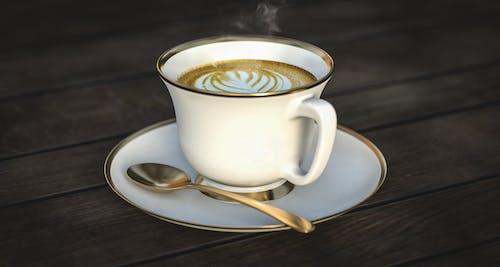 Бесплатное стоковое фото с блюдце, деревянный, капучино, кофе