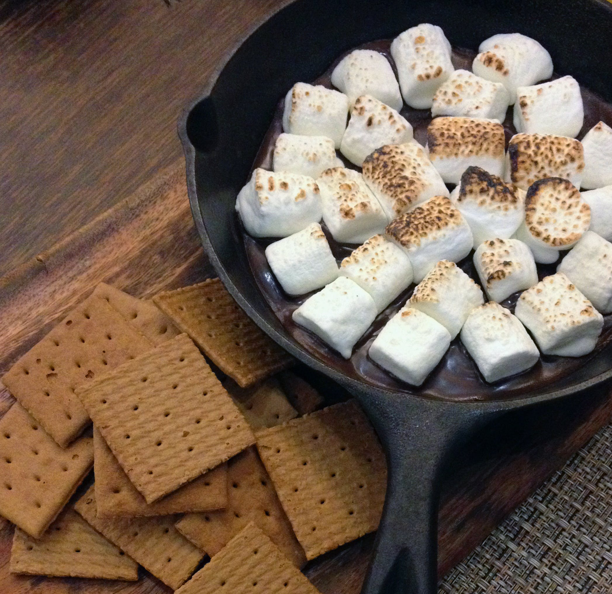 Fried Marshmallows on Top of Black Steel Nonstick Frying Pan