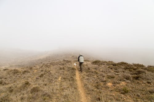 Man Walking on Top Hill Covered of Fog