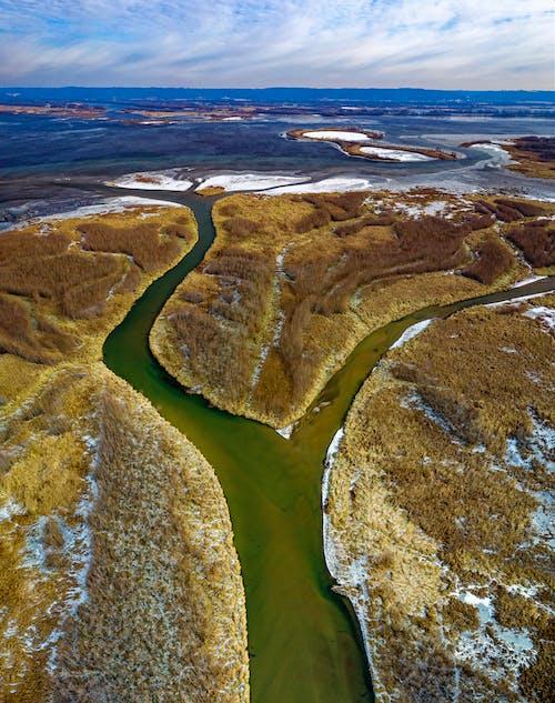 Бесплатное стоковое фото с Аэрофотосъемка, вода, дельта, дельта реки