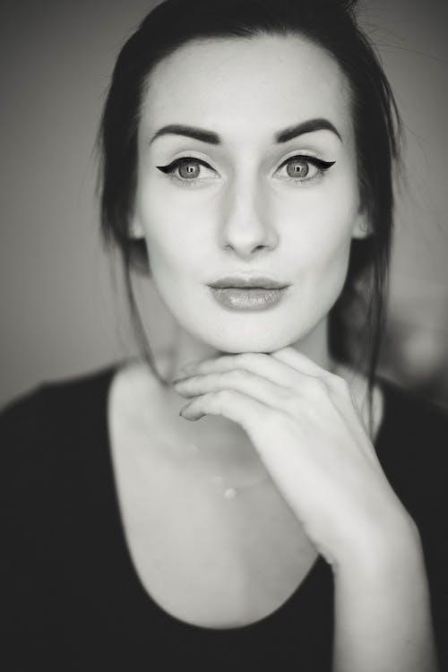 atrakcyjny, czarno-biały, dama