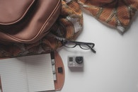 camera, notebook, pen