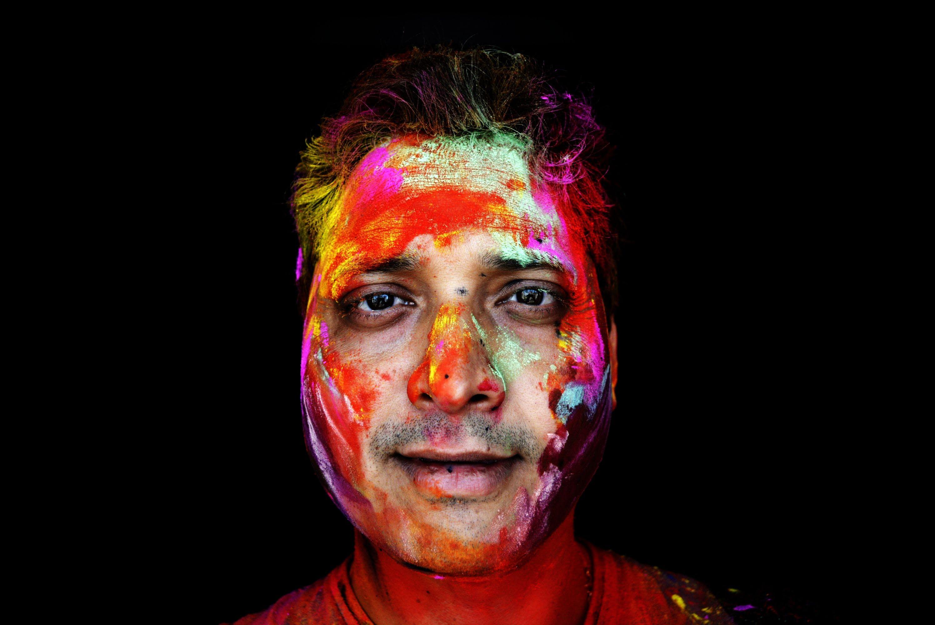 barevný, malování, malování na obličej