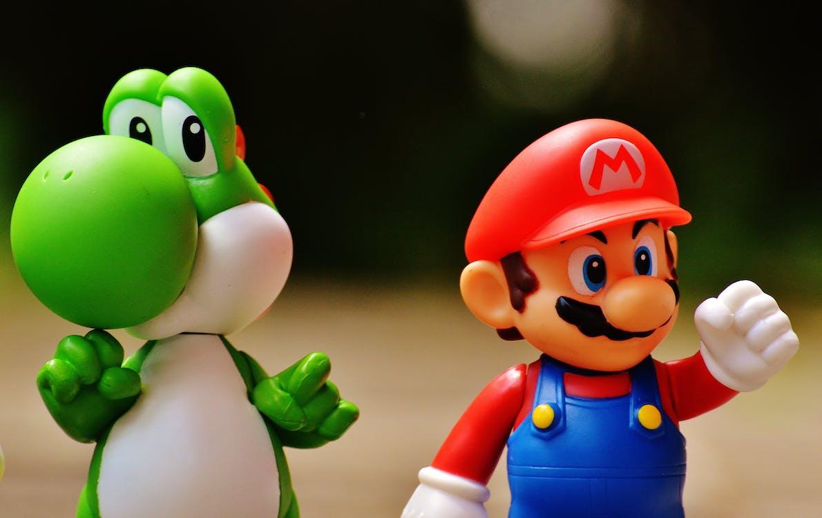Figurine En Plastique Super Mario Et Yoshi