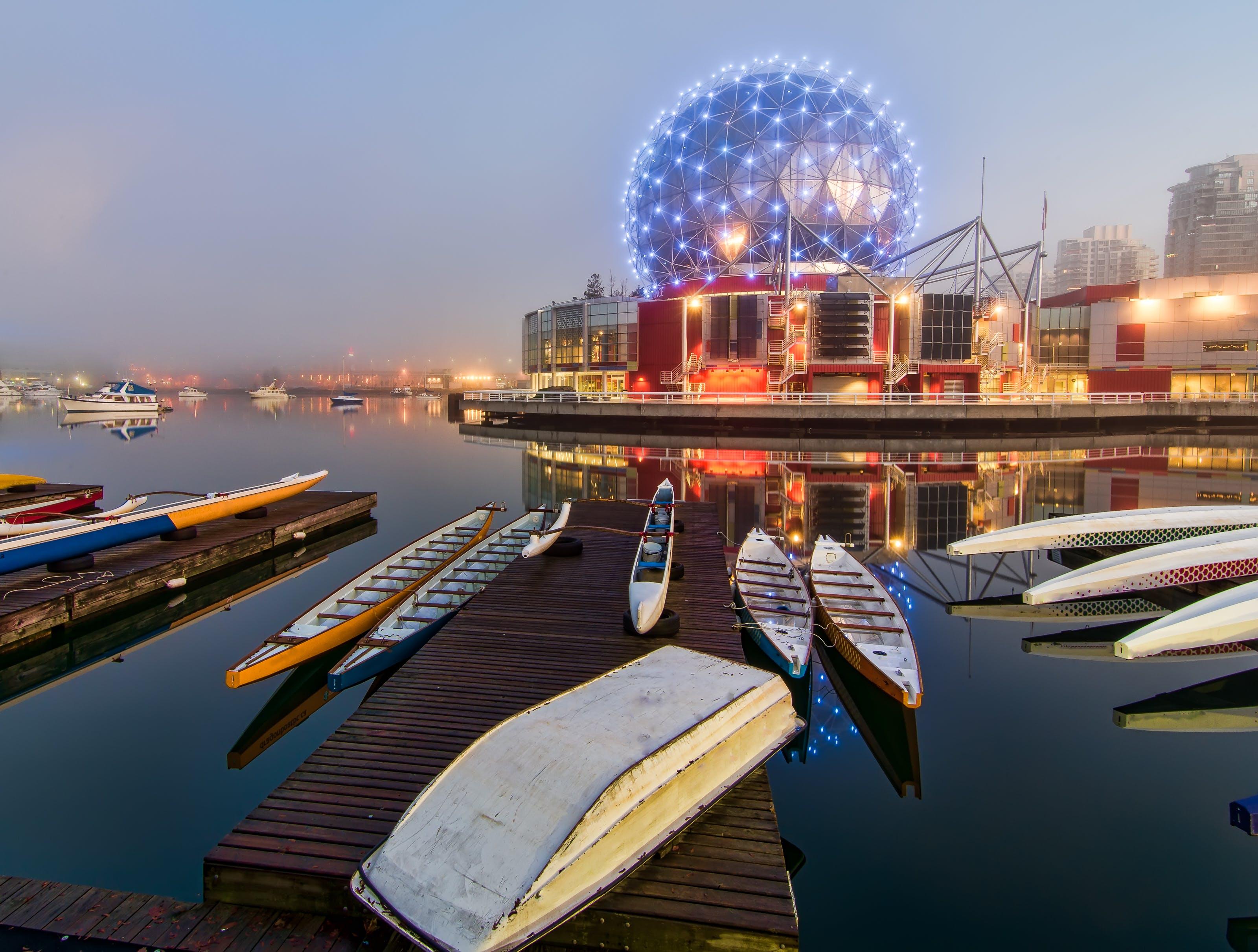 Canoes Beside Dock