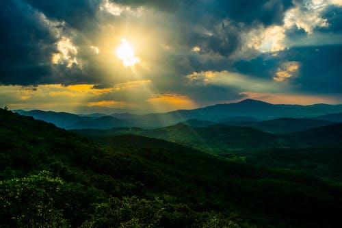 山, 日光, 日没の無料の写真素材