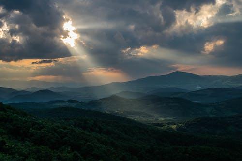 山, 日没の無料の写真素材