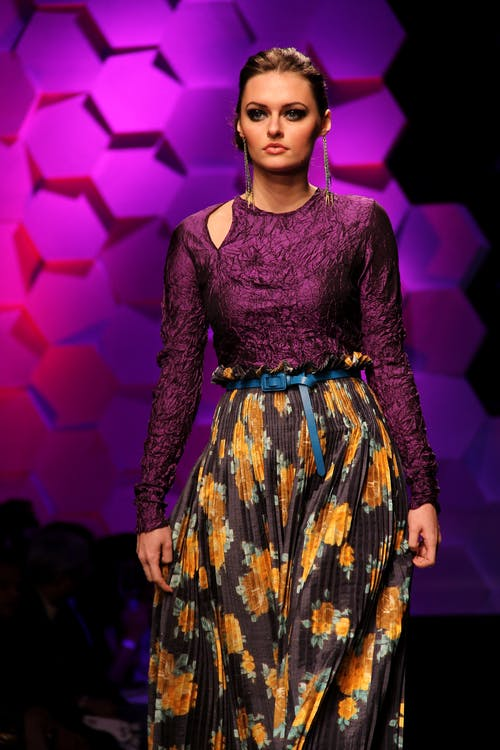 Women's Purple, Yellow, and Black Floral Long-sleeved Dress