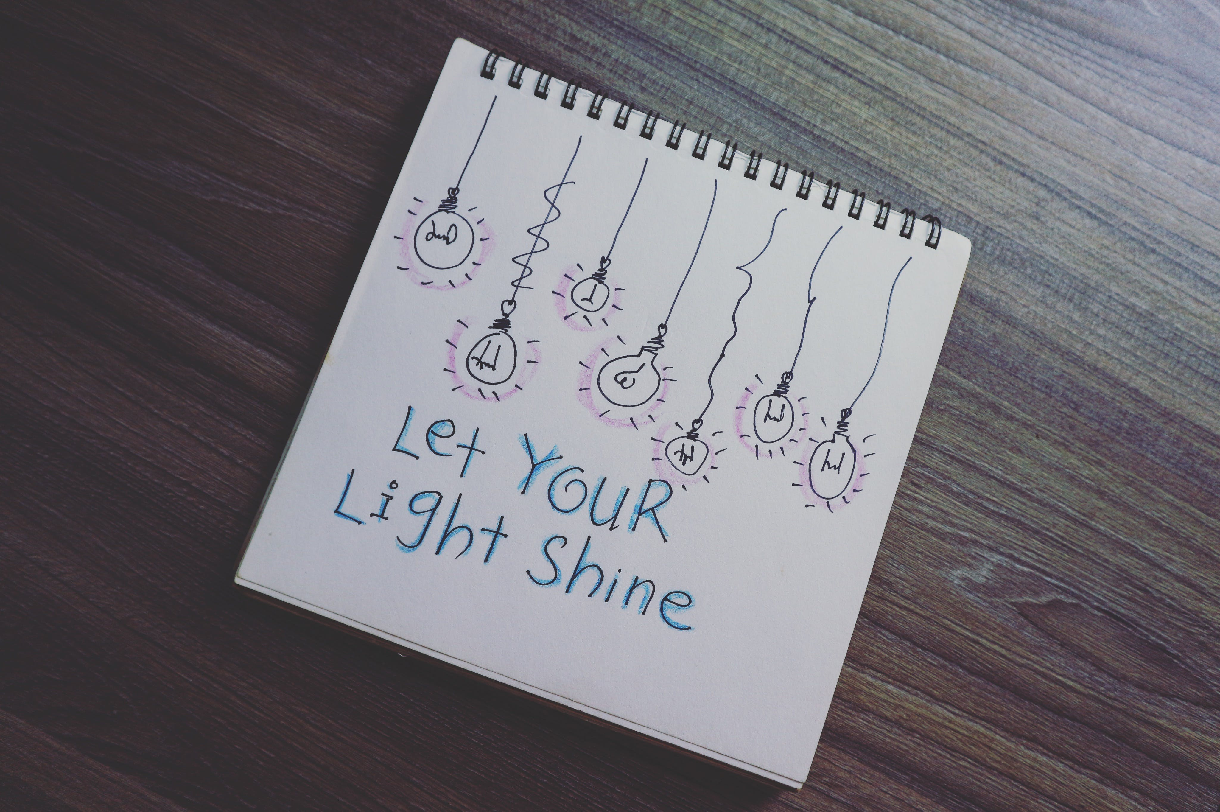 Let Your Light Shine Drawing on Notebook