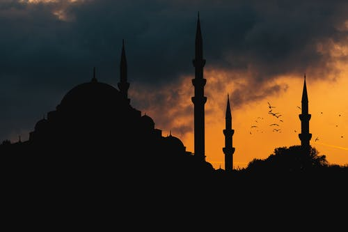 Silhouette of Mosque during Sunset