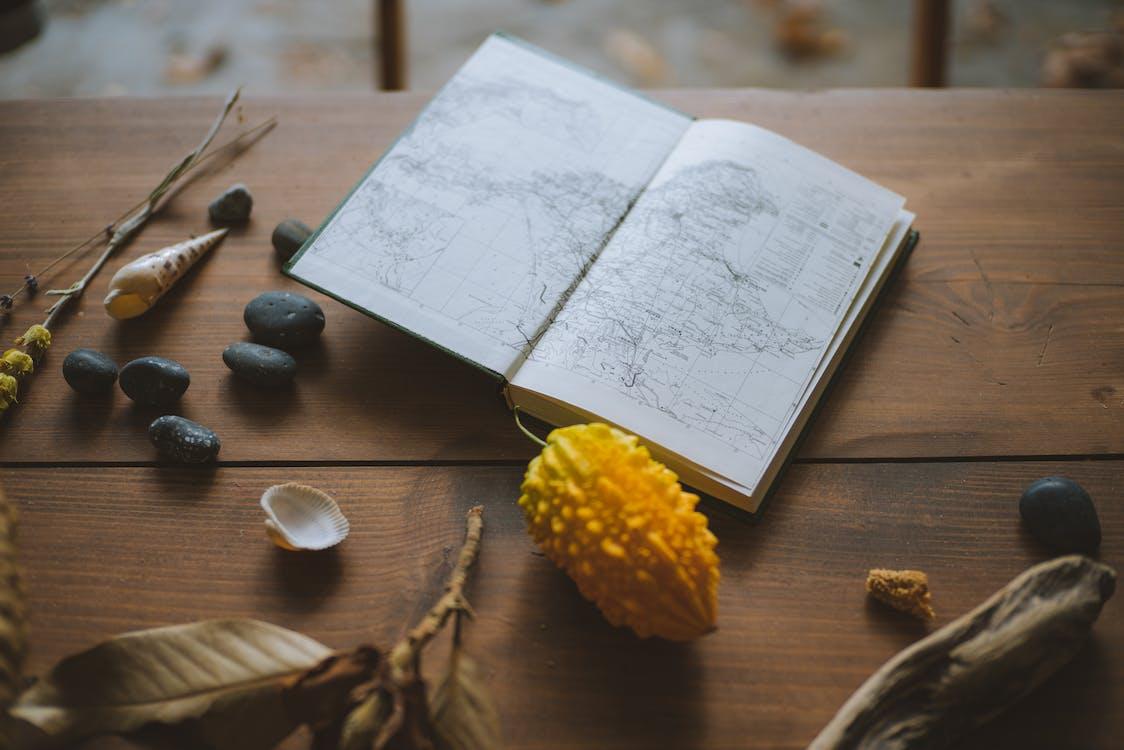 bàn, bản đồ, đá