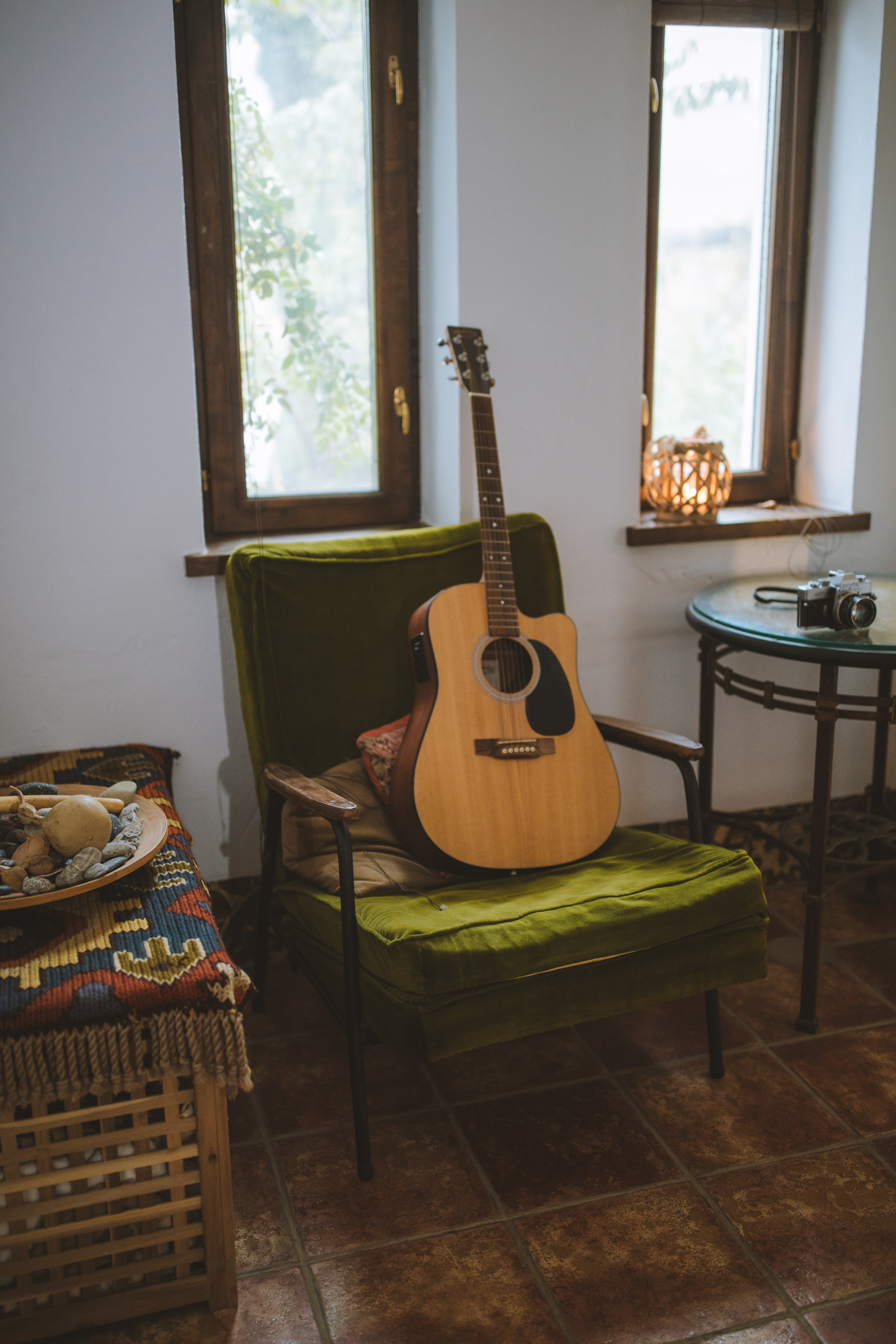 Brown Acoustic Guitar On Chair