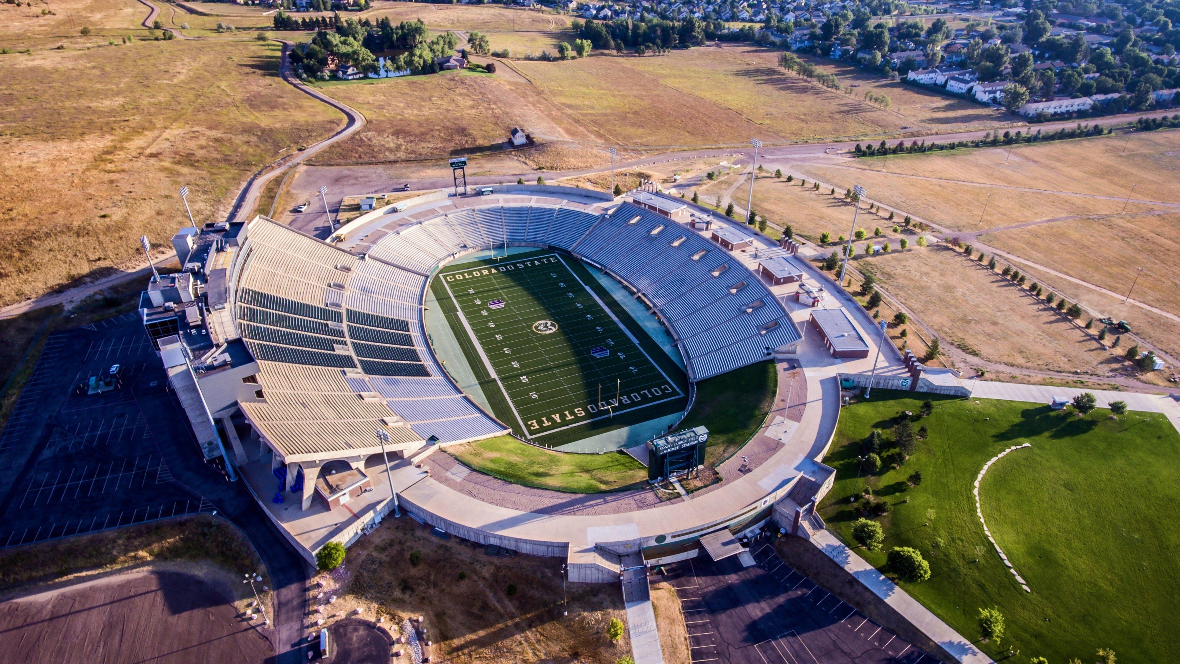 Aerial Photo of Gray and White Stadium