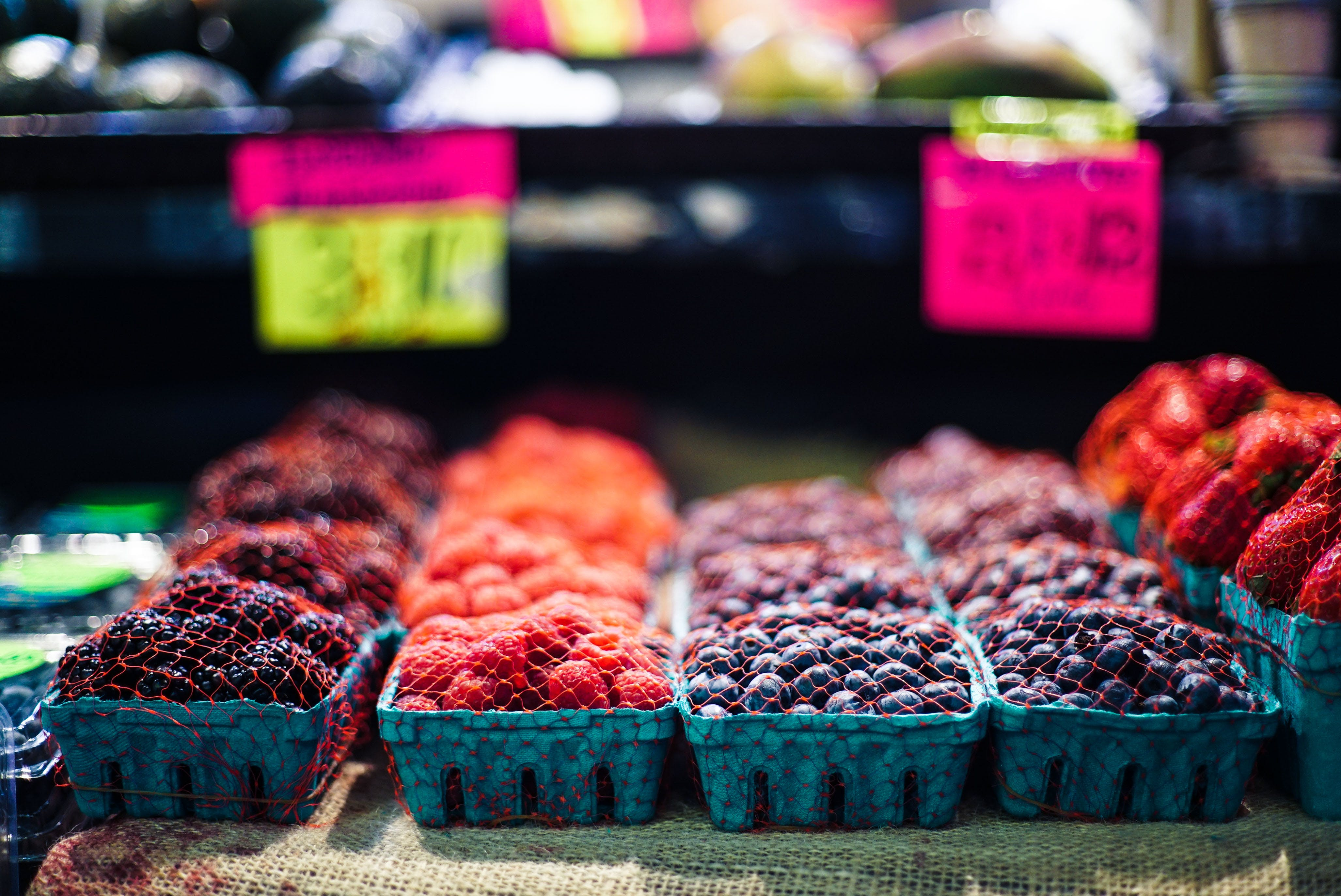 Fruits On Blue Containers