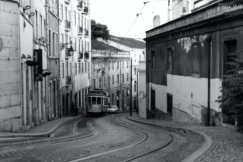 Grayscale Photography of street railways