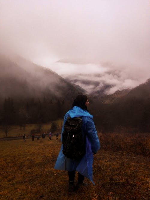 Woman Wearing Blue Coat Overlooking Mountains