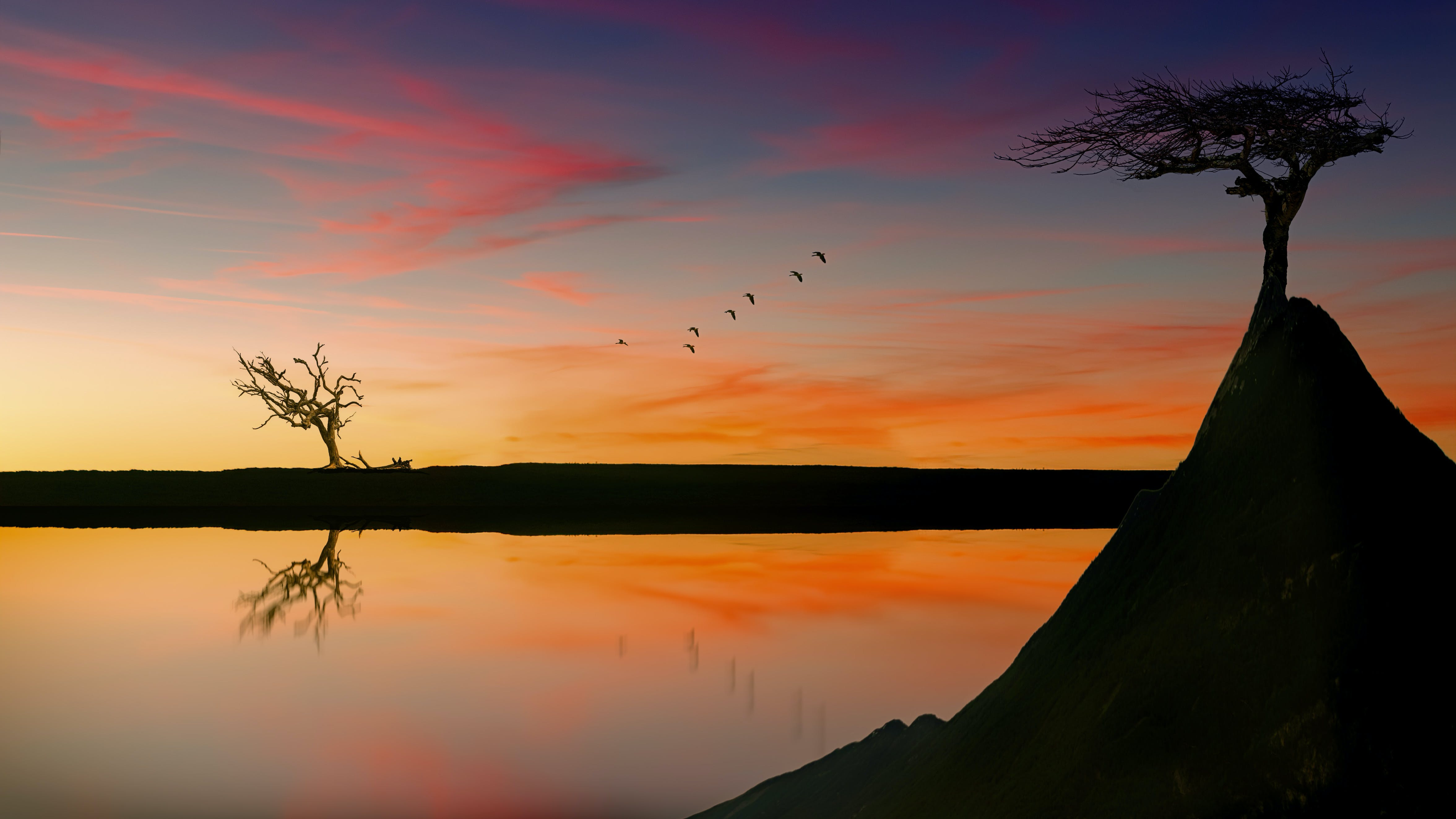 Scenic View Of Lake During Dawn